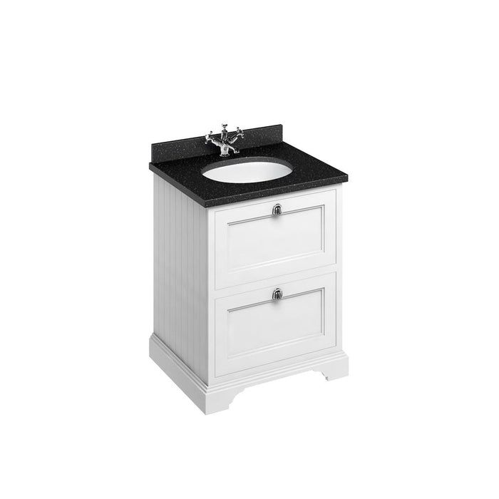 Burlington Freestanding 65 Vanity Unit 2 Drawers Integrated Basin with Worktop - FF9W+BB66