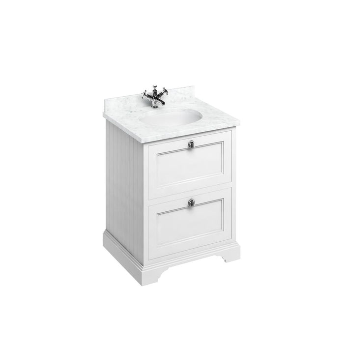 Burlington Freestanding 65 Vanity Unit 2 Drawers Integrated Basin with Worktop - FF9W+BC66