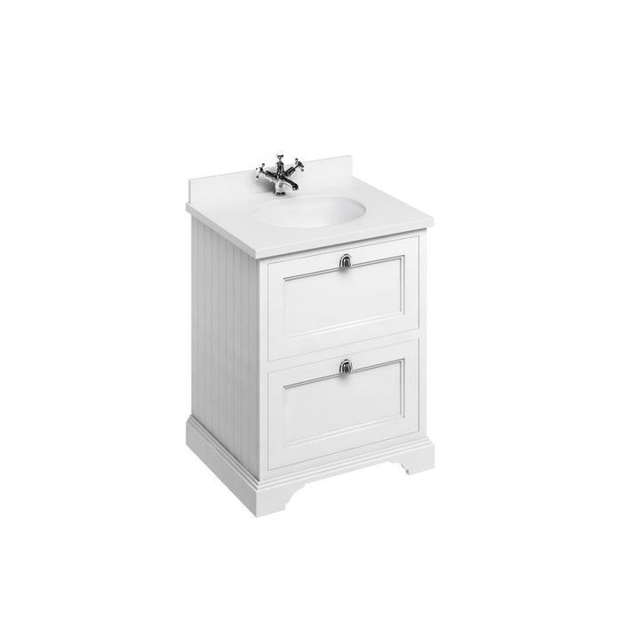 Burlington Freestanding 65 Vanity Unit 2 Drawers Integrated Basin with Worktop - Unbeatable Bathrooms