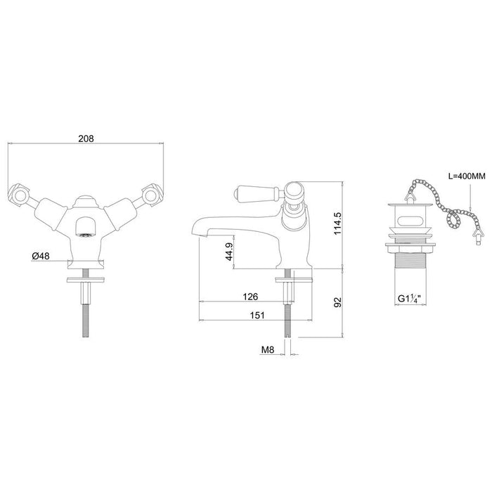 Burlington Kensington Basin Mixer with High Central Indice with Plug and Chain Waste-KE5-Diagram Image