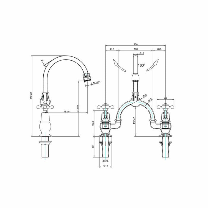 Burlington Kensington Regent 2 Tap Hole Arch Mixer with Curved Spout, 230mm Centres-KER28-Diagram Image