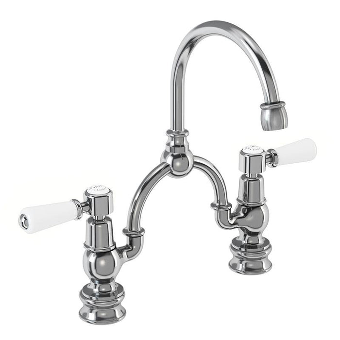 Burlington Kensington Regent 2 Tap Hole Arch Mixer with Curved Spout, 230mm Centres-KER28