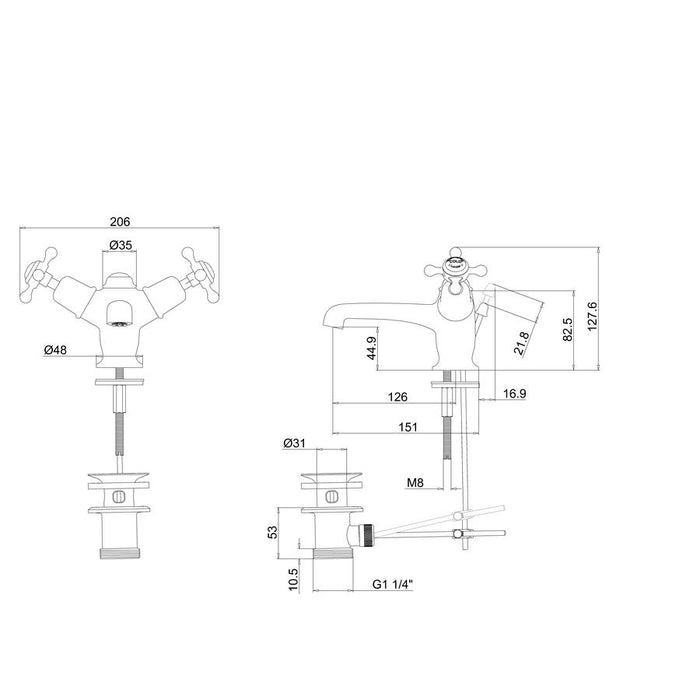 Burlington Kensington Regent Pop-Up Waste Basin Mixer with High Central Indice - Diagram Image