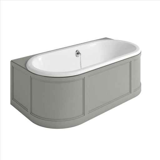 Burlington London Back To Wall Bath with Curved Surround Overflow & Waste - Unbeatable Bathrooms