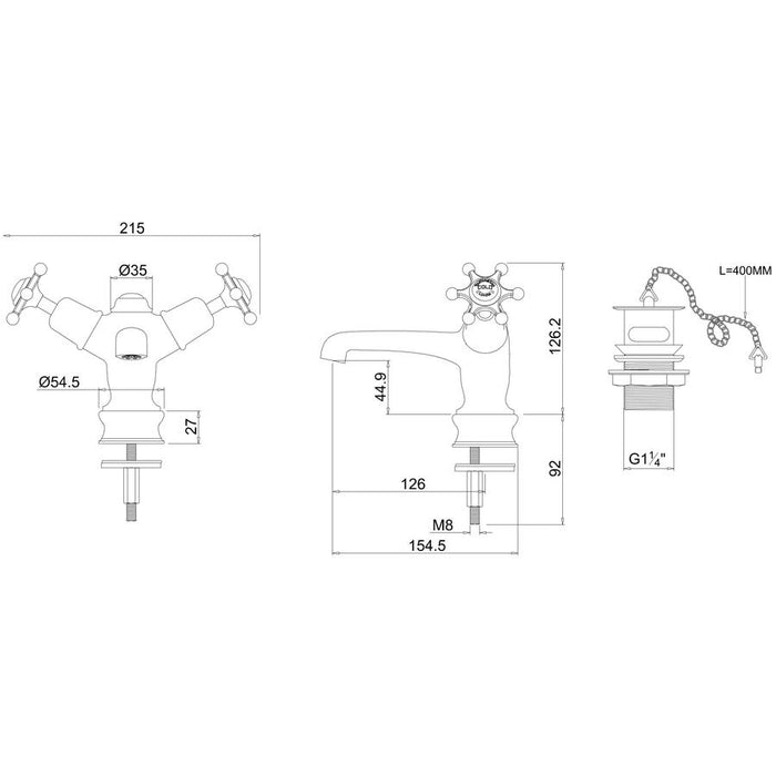 Burlington Low Central Indice Basin Mixer with Plug and Chain - Diagram Image