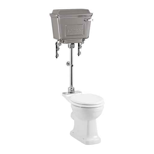 Burlington Rimless Close Coupled Pan with Chrome Aluminium Cistern and Medium Level Flush Pipe Kit - Unbeatable Bathrooms