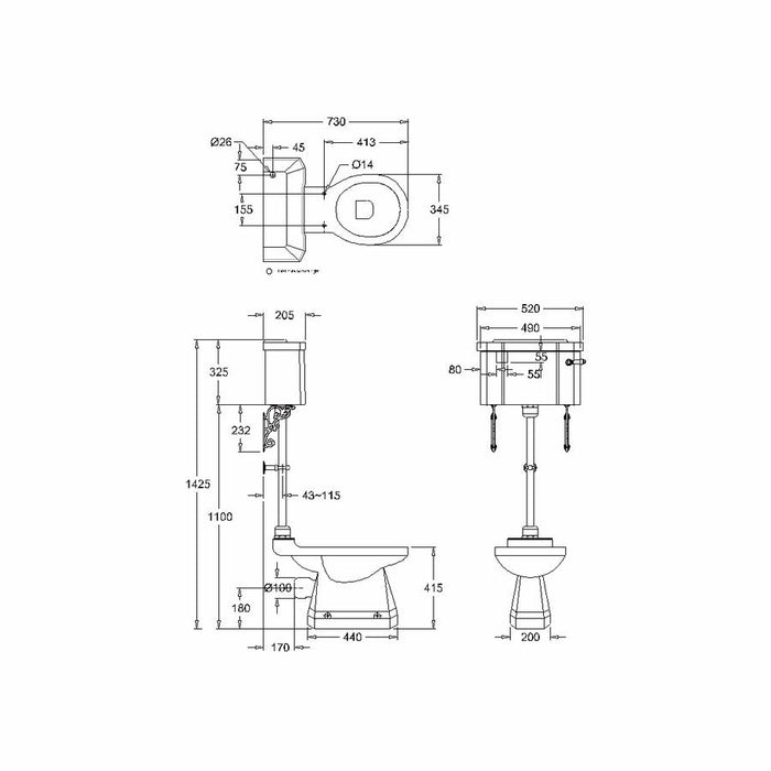 Burlington Rimless Close Coupled Pan with Standard Lever Cistern and Medium Level Flush Pipe Kit - Diagram Image