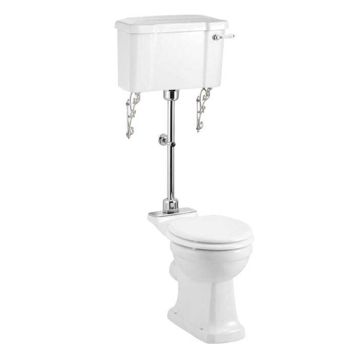 Burlington Rimless Close Coupled Pan with Standard Lever Cistern and Medium Level Flush Pipe Kit - P20+C1+T33 CHR