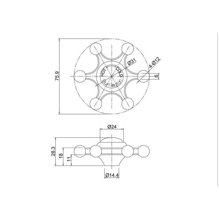 Burlington Single Bath Handle Valve - Diagram Image