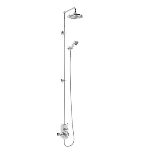 Burlington Spey Thermostatic Exposed Shower Valve Single Outlet with Extended Rigid Riser and Swivel Shower Arm with rose - Unbeatable Bathrooms