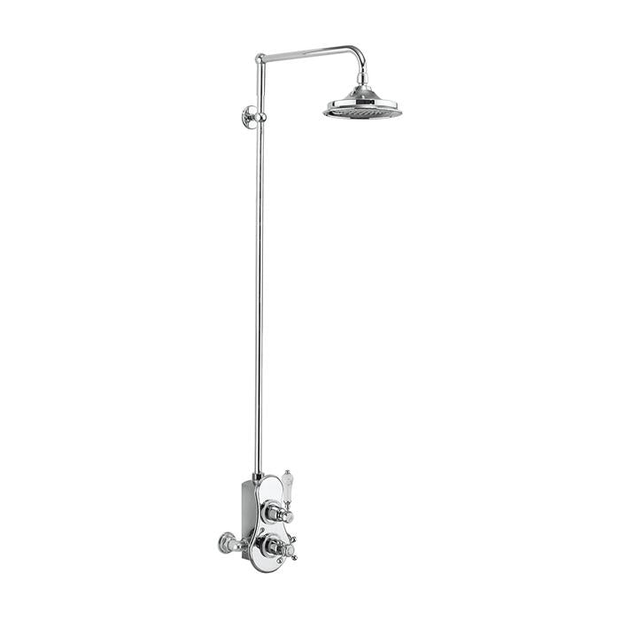 Burlington Spey Thermostatic Exposed Shower Valve Single Outlet with Rigid Riser and Swivel Shower Arm - Unbeatable Bathrooms