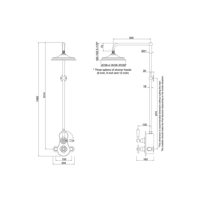 Burlington Spey Thermostatic Exposed Shower Valve Single Outlet with Rigid Riser and Swivel Shower Arm - Diagram Image