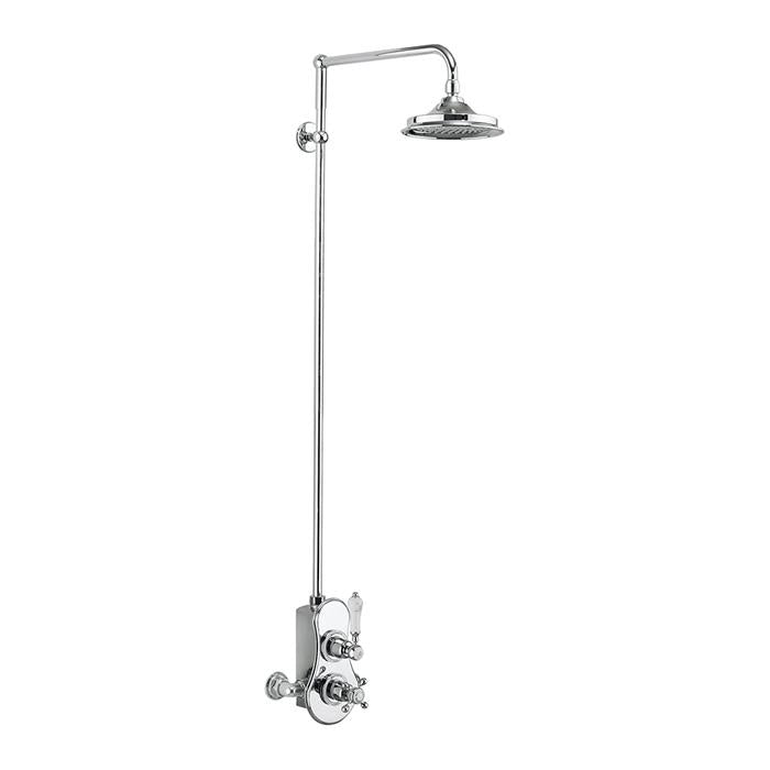 Burlington Spey Thermostatic Exposed Shower Valve Single Outlet with Standard Rigid Riser and Swivel Shower Arm - Unbeatable Bathrooms