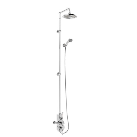 Burlington Spey Thermostatic Exposed Shower Valve Two Outlet Extended Riser with Swivel Shower Arm Handset & Holder Hose and Rose - BSF3S.EXT-V60
