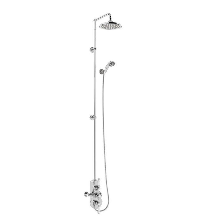 Burlington Spey Thermostatic Exposed Shower Valve Two Outlet Extended Riser with Swivel Shower Arm Handset & Holder Hose and Rose - Unbeatable Bathrooms