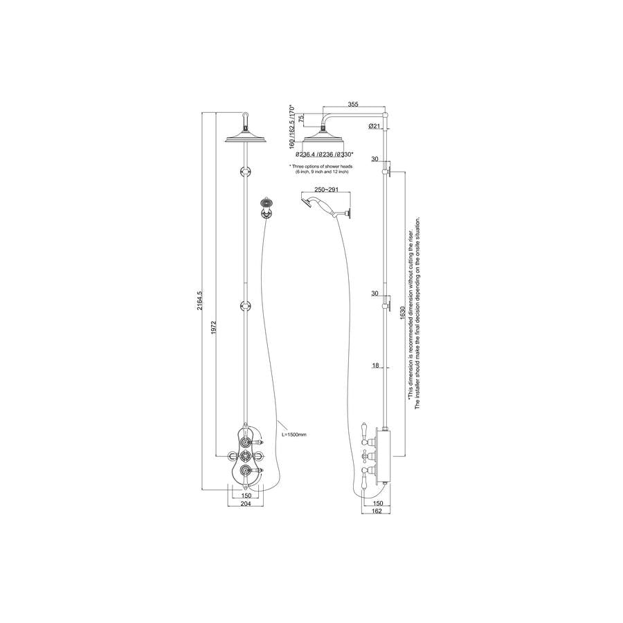 Burlington Spey Thermostatic Exposed Shower Valve Two Outlet Diagram Extended Riser With Swivel Arm Handset