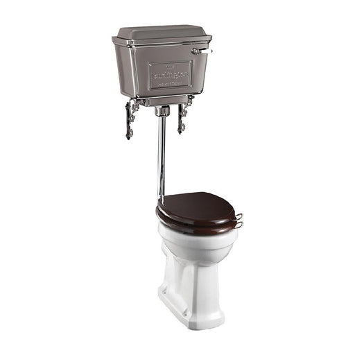Burlington Standard Close Coupled Pan with Chrome Aluminium Cistern and Low Level Flush Pipe Kit - T31 CHR+P2+T71 CHR+T32 CHR