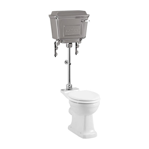 Burlington Standard Close Coupled Pan with Chrome Aluminium Cistern and Medium Level Flush Pipe Kit - Unbeatable Bathrooms
