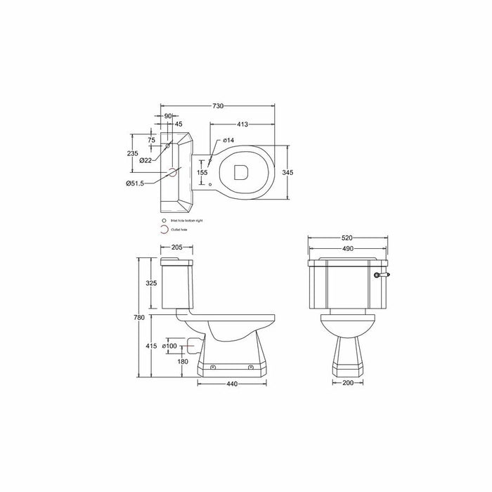 Burlington Standard Close Coupled WC Unit with 52 cm Wide Ceramic Lever Flush - Diagram Image