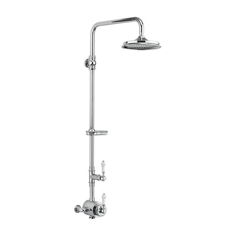 Burlington Stour Thermostatic Exposed Shower Valve Single Outlet Rigid Riser with Fixed Shower Arm & Soap Basket and Rose - Unbeatable Bathrooms