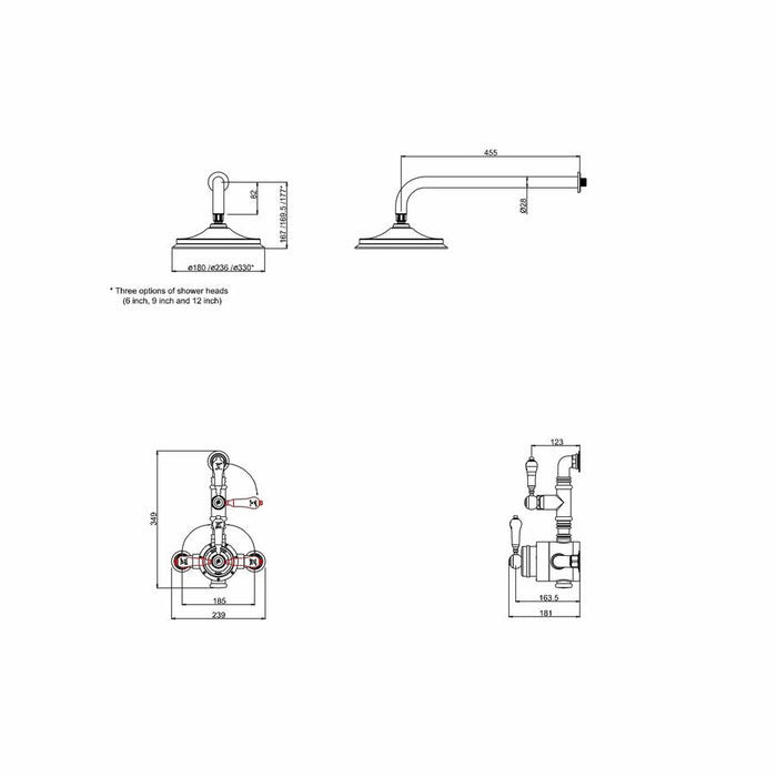 Burlington Stour Thermostatic Exposed Shower Valve Single Outlet with Fixed Shower Arm - Diagram Image