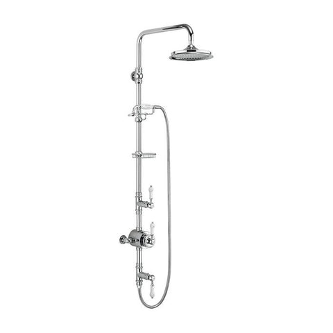 Burlington Stour Thermostatic Exposed Shower Valve Two Outlet Rigid Riser Fixed Shower Arm Handset & Holder with Hose & Soap Basket and Rose - Unbeatable Bathrooms