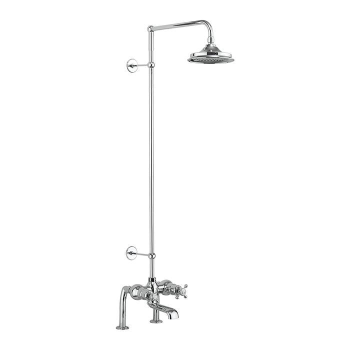 Burlington Tay Thermostatic Bath Shower Mixer Deck Mounted with Rigid Riser and Swivel Shower Arm - Unbeatable Bathrooms