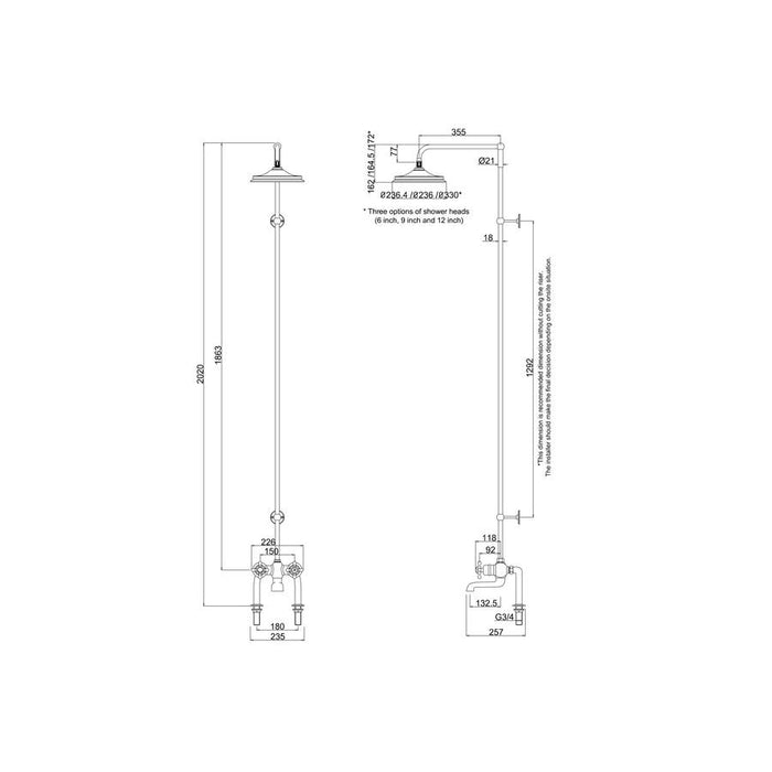 Burlington Tay Thermostatic Bath Shower Mixer Deck Mounted with Rigid Riser and Swivel Shower Arm - Diagram Image