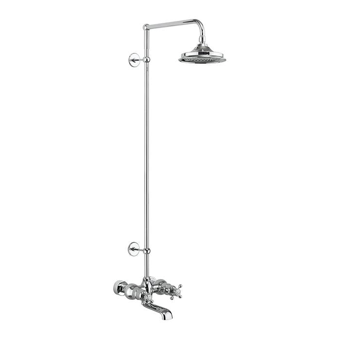 Burlington Tay Thermostatic Wall Mounted Bath Shower Mixer with Rigid Riser - Unbeatable Bathrooms