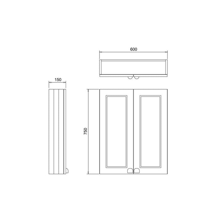 Burlington Traditional 60cm Double Door Wood Wall Unit-F6WO-Diagram Image