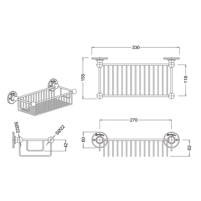 Burlington Traditional 62Mm Deep Bath Wire Basket - Diagram Image