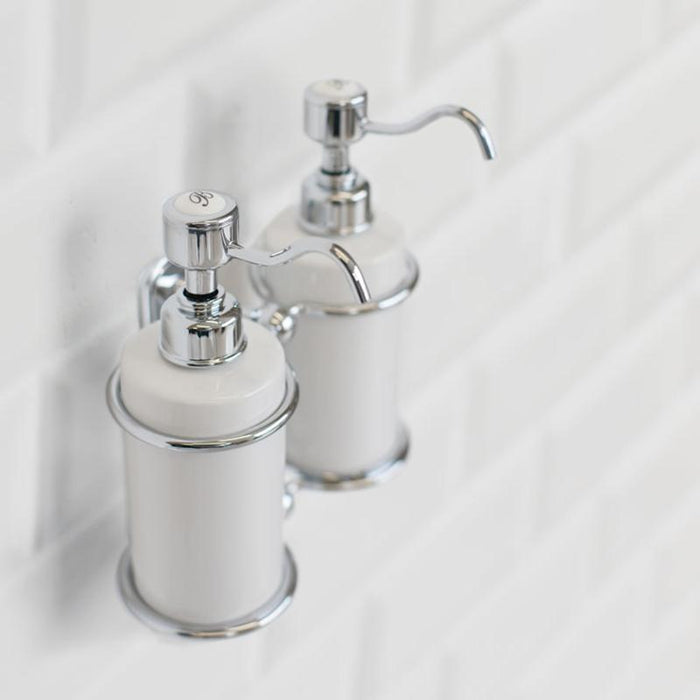 Burlington Traditional Brass & Ceramic Double Soap Dispenser - A20 CHR