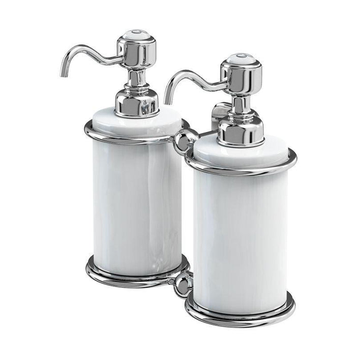 Burlington Traditional Brass & Ceramic Double Soap Dispenser Additional View 1