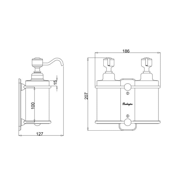 Burlington Traditional Brass & Ceramic Double Soap Dispenser - Diagram Image