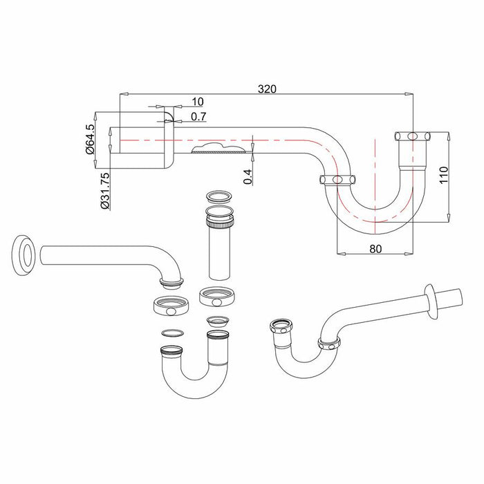Burlington Traditional Chrome Plated Bidet Trap - Diagram Image