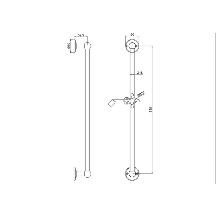 Burlington Traditional Chrome Plated Slide Rail - Diagram Image
