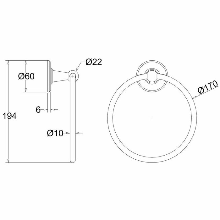 Burlington Traditional Chrome Plated Towel Ring - Diagram Image