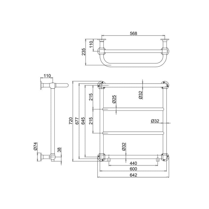 Burlington Traditional Cleaver Radiator with Angled Valves - Diagram Image