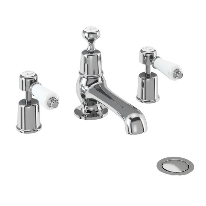 Burlington Traditional Kensington 3 Tap Hole Mixer with Pop Up Waste - Unbeatable Bathrooms