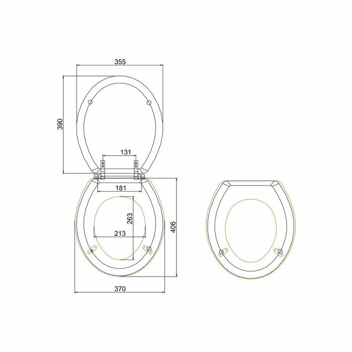Burlington Traditional Soft Close Toilet Seat - Diagram Image
