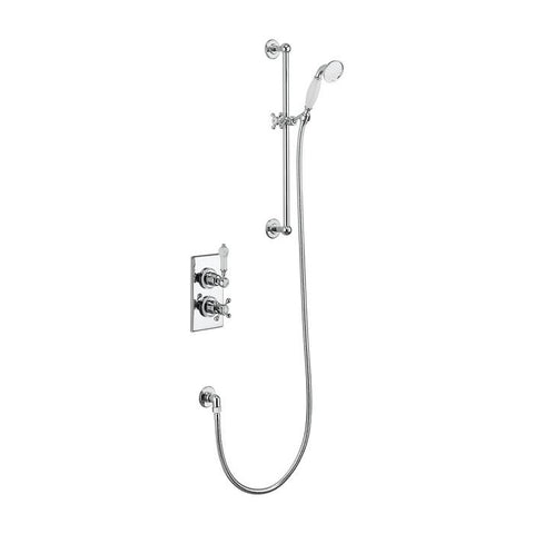 Burlington Trent Thermostatic Single Outlet Concealed Bath Shower Valve with Rail and Hose Handset - Unbeatable Bathrooms