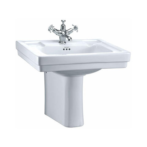 Burlington Victorian 61cm Basin and Semi Pedestal - Unbeatable Bathrooms