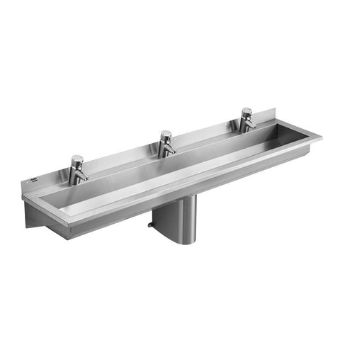 Armitage Shanks Calder Stainless Steel Washing Trough 180cm Long, 3 Taphole Positions, Central Outlet With 2inch Domed Waste - Unbeatable Bathrooms