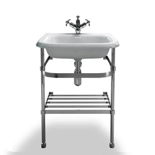 Clearwater Small Roll Top White Basin with Stainless Steel Stand