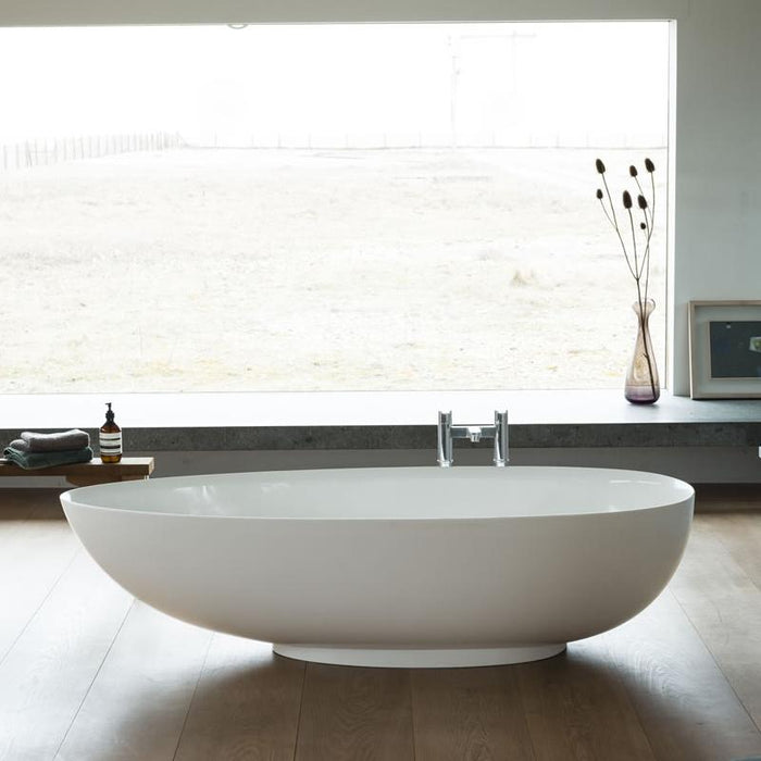 Clearwater Teardrop Petite Clear Stone White Bath - Unbeatable Bathrooms
