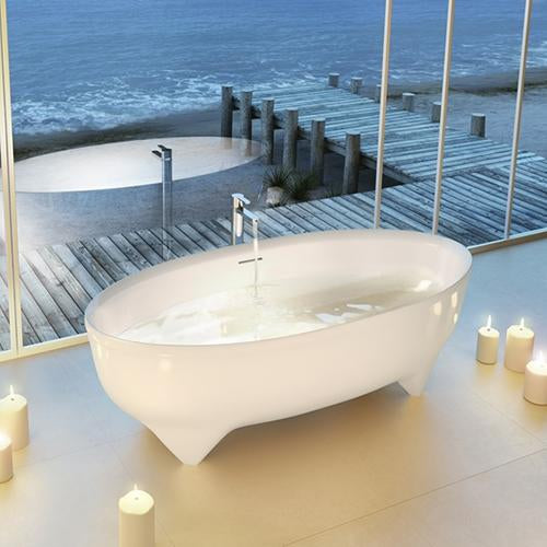 Clearwater Vigore Natural Stone White Bath - Unbeatable Bathrooms