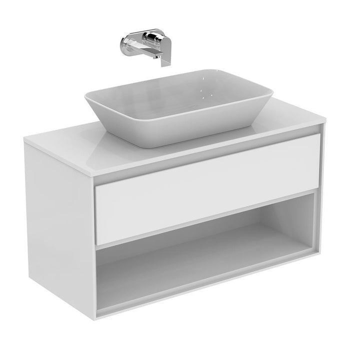 Ideal Standard Concept Air 100cm wall hung vanity unit with 1 drawer and open shelf - Unbeatable Bathrooms