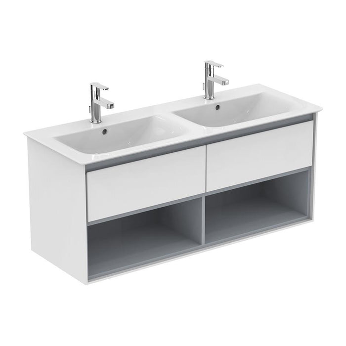 Ideal Standard Concept Air 120cm wall hung vanity unit with 2 drawers and open shelf - Unbeatable Bathrooms