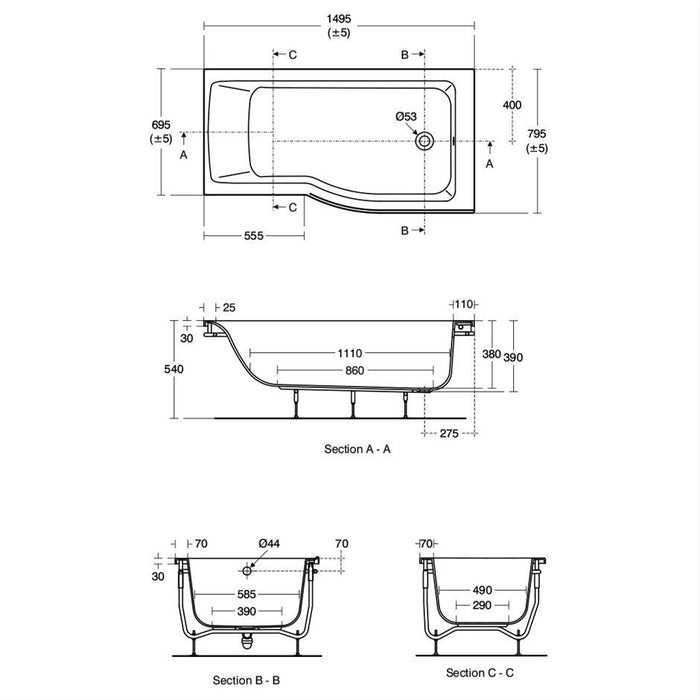 Ideal Standard Concept Air 150 x 80cm Idealform shower bath right hand with no taphole - Unbeatable Bathrooms