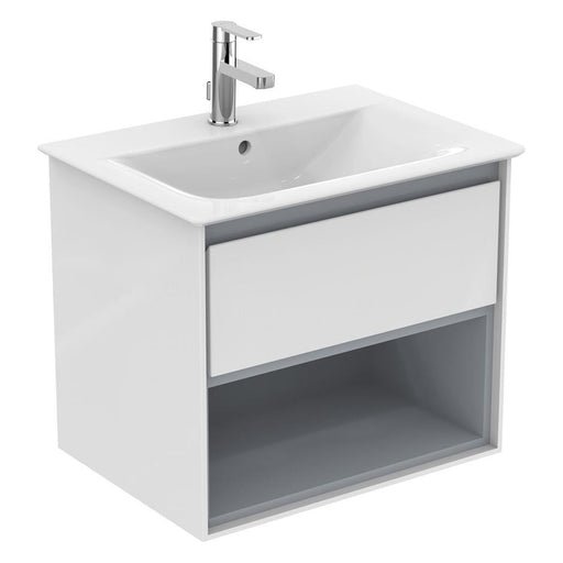 Ideal Standard Concept Air 60cm wall hung vanity unit with 1 drawer and open shelf - Unbeatable Bathrooms